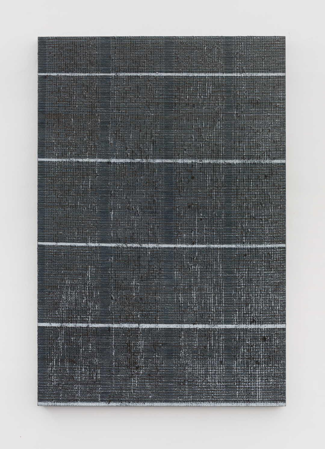 《五条白线-棕灰》Five white lines-brown grey  迟群 200x135cm 2018年 布面油画